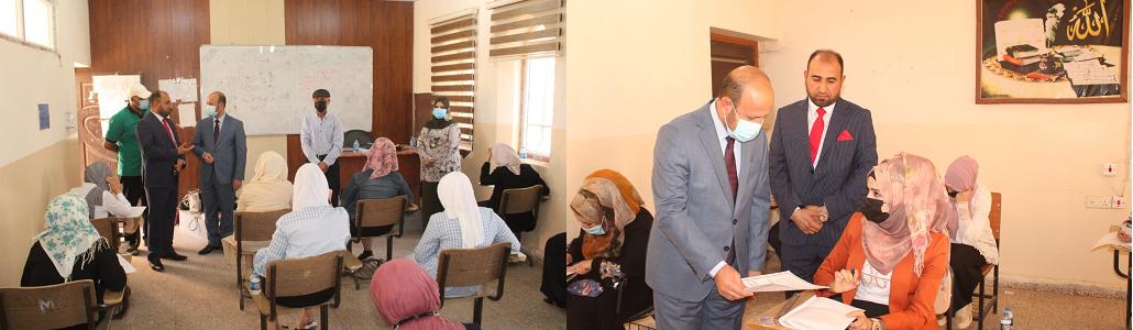 رئيس جامعة تكريت يزور كلية التربية للبنات للاطلاع على سير الامتحانات الحضورية