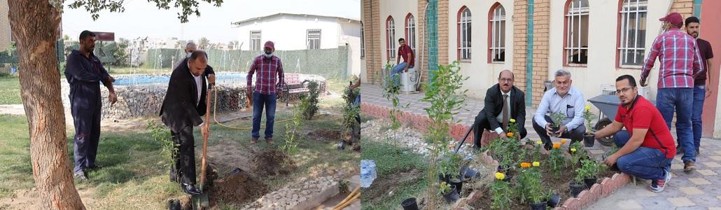 حملة تطوعية لغرس الاشجار وشتلات الورد في الكلية
